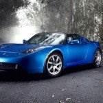 tesla roadster blau