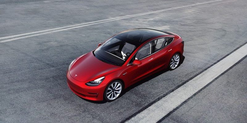 Model 3 auf der Straße
