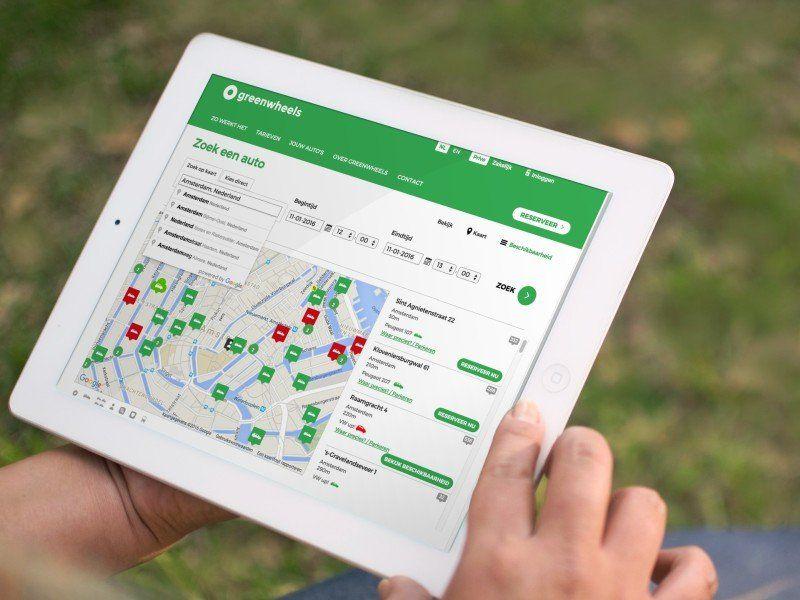 App von Greenwheels auf Tablet