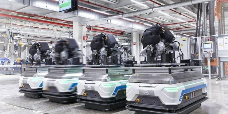 Die Motor-Getriebe-Kombination des E-Tron im Werk Brüssel: Die Getriebe dafür stammen von Schaeffler.