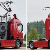 Scania Hybrid-LKW für Oberleitungsautobahn