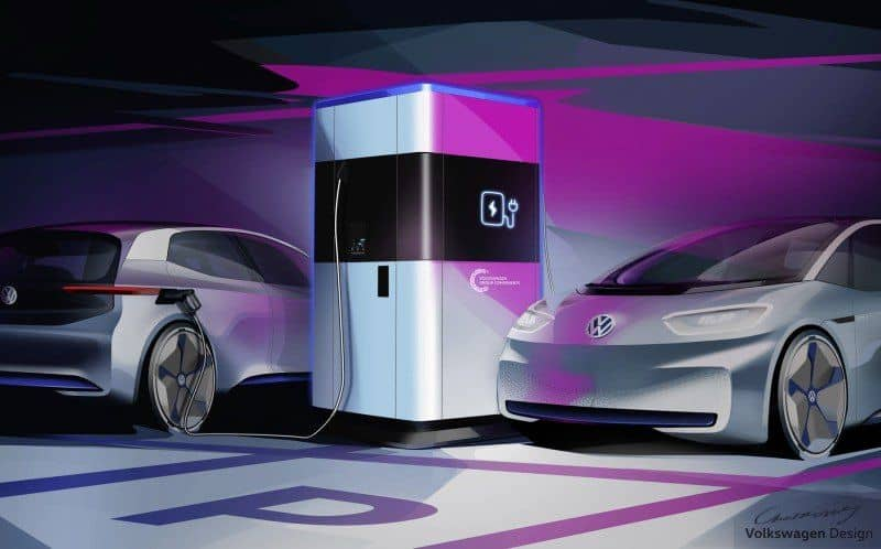 Skizze mobile Schnellladesäule von Volkswagen