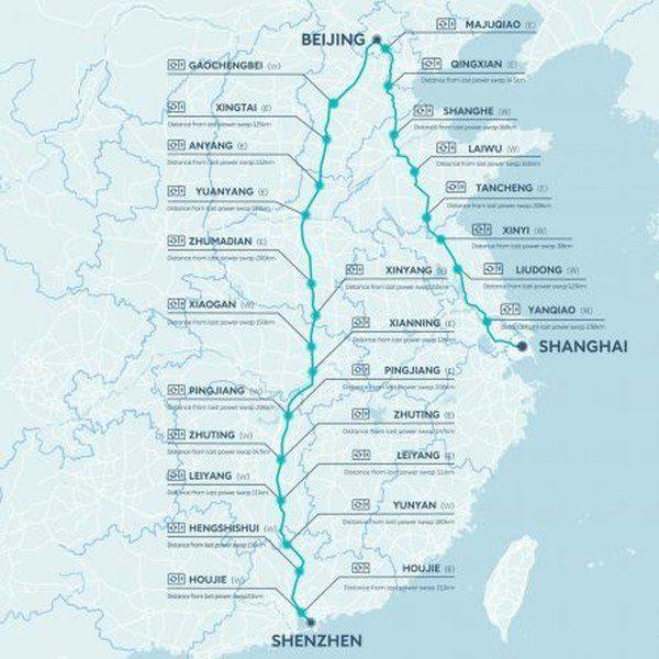Route der Nio-Wechselakku-Stationen