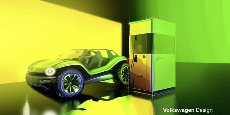 Seriennahe Designstudie der flexiblen Schnellladesäule von VW