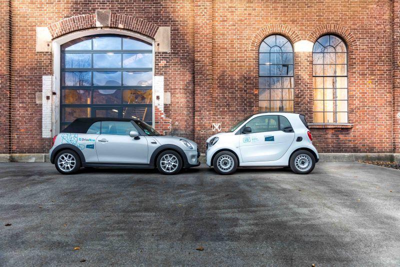 Mini und smart gegenüber - Share Now