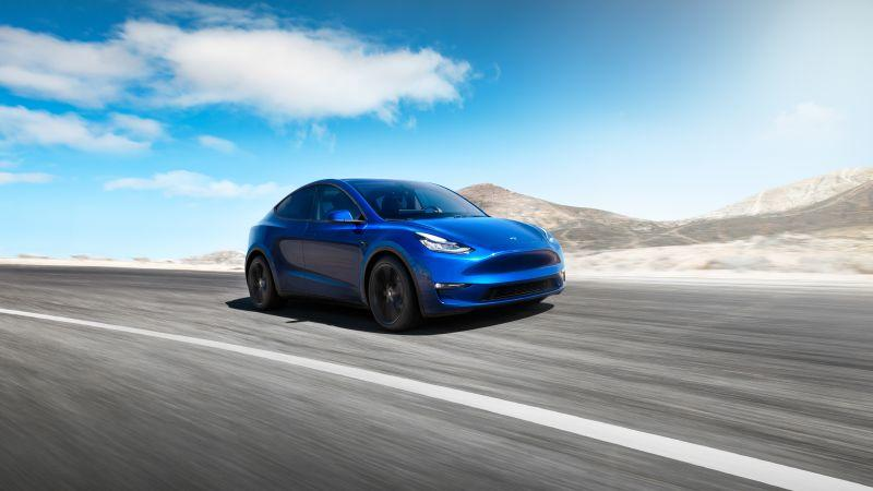 Tesla Model Y Front in blau