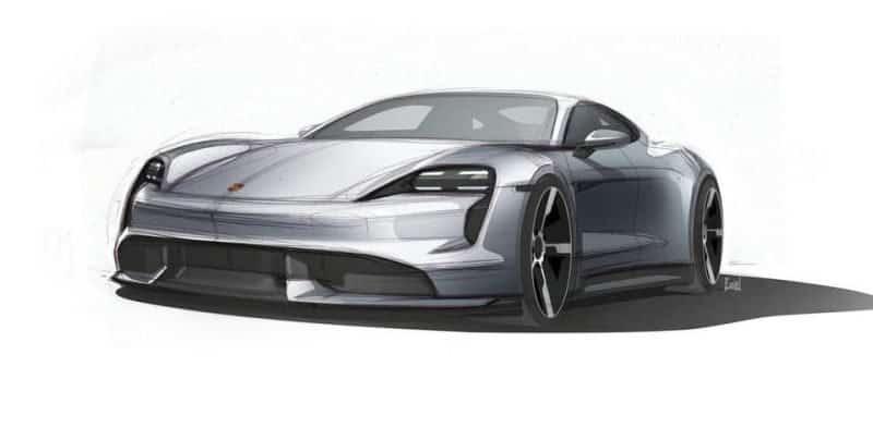 Porsche Taycan Designskizze Front