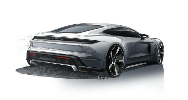 Porsche Taycan Designskizze Heckansicht