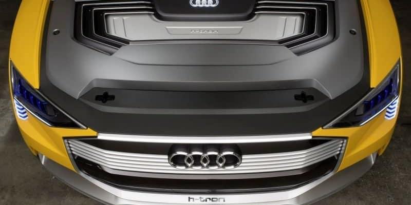 Blick auf den Motor des Audi h-tron quattro concept (Brennstoffzellenfahrzeug)