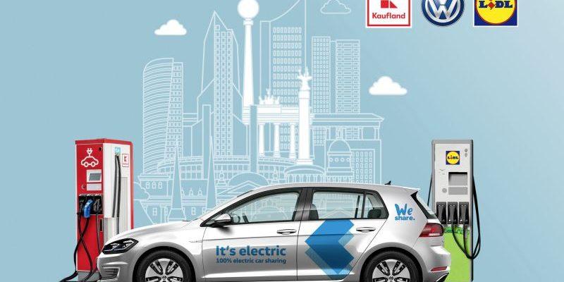 VW lädt künftig seine WeShare-Autos bei Lidl und Kaufland
