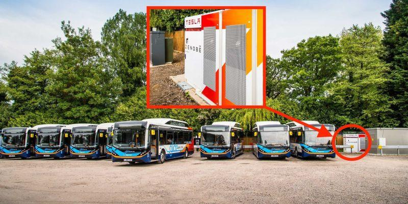 Tesla Powerpacks laden Zenobe E-Busse
