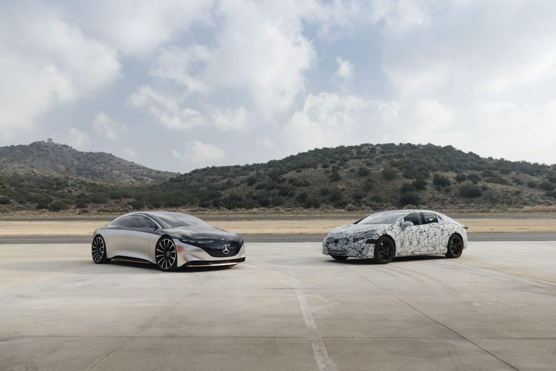 Mercedes-Benz: EQS-Elektrolimousine Concept trifft auf Vorserien-EQS