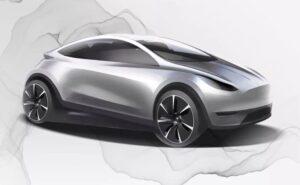 Tesla Konzeptzeichnung zeigt kompaktes E-Autos, kleiner als Model 3