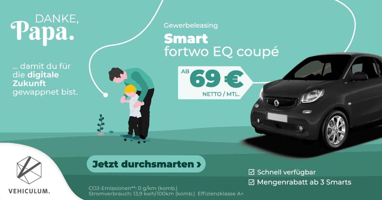 Vehiculum: smart fortwo EQ coupé leasen ab 69 Euro/Monat [Gewerbekunden]