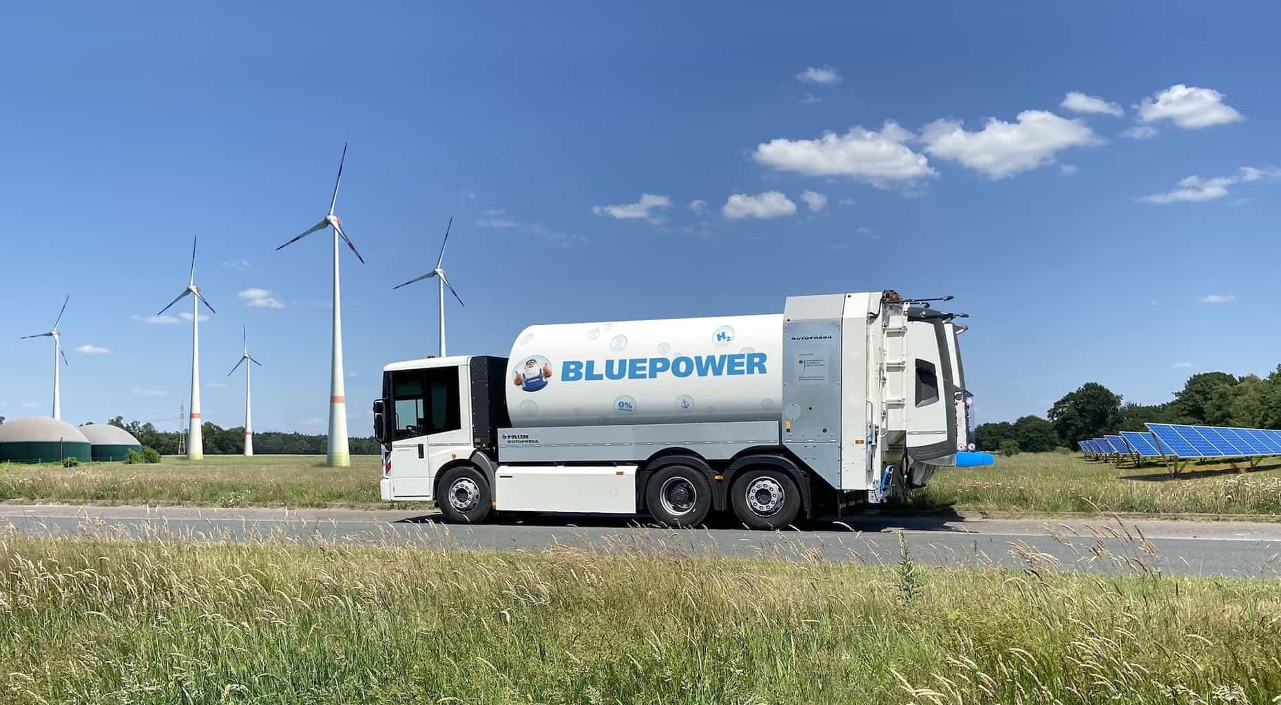 Faun Wasserstoff Müllfahrzeug Bluepower