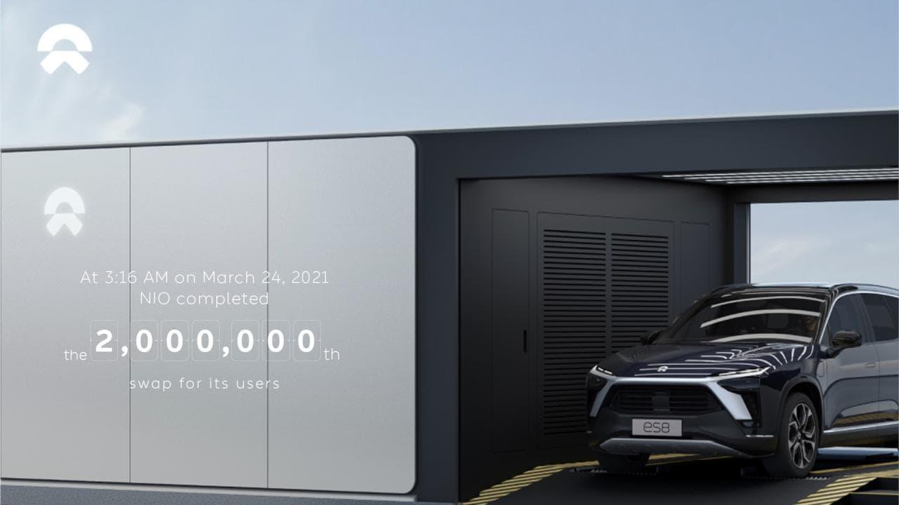 NIO Batteriewechsel-Stationen verzeichnen zwei Millionsten Akku-Tauschvorgang