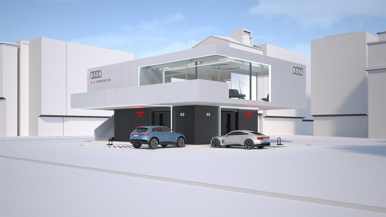 Audi-Lade-Lounge: Unten Strom - oben Kaffee