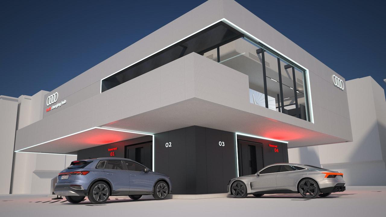 """Audi und die Nürnberger Messe starten Bauarbeiten für weltweit ersten """"Audi charging hub"""""""